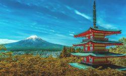 Pohled na horu Fudži, symbol Japonska.