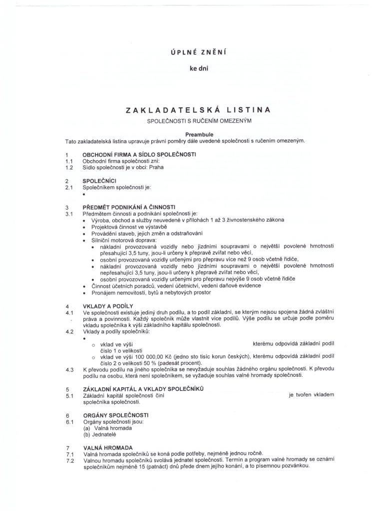 Zakladatelska listina
